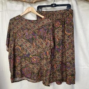 Vintage Fall Tone Two Piece Top and Skirt Set